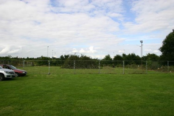 The netball posts will be right in front of us in this image. The floodlights in the distance are those belonging to the Hinckley Football Club.